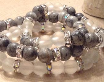Stackable Quartz & Lodolite Bead Bracelet