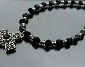 Black and silver beaded cross necklace