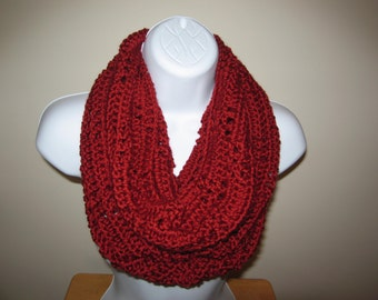 Crocheted Cozy Autumn Red Cowl Infinity Scarf