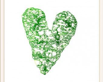 "Original Pen Drawing, ""Green Heart"""