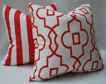 SALE Two Coral and White Geometric Pillow Covers 20 X 20