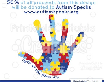 Autism Awareness Puzzle Handprint SVG Cut File & Clipart E114 - Includes Limited Commercial Use!