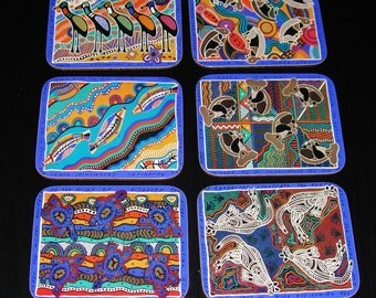 Coasters - Aboriginal Inspired from Balarinji - Six Unused Coasters in Box
