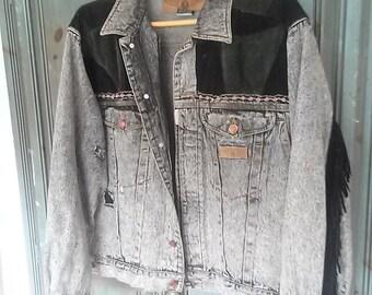 Vintage  Denim Ladies Jacket With Fringed Leather Tassels