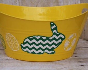 Easter Bunny Yellow Oval Plastic tub- Easter Basket-Oval Tub-Oval Basket-Storage Basket-Toy Basket-Basket with handles-Easter Bunny