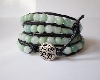 Leather Wrap Bracelet -- Amazonite Beaded Wrap Bracelet -- Quad Wrap Bracelet -- 4 Times Wrap
