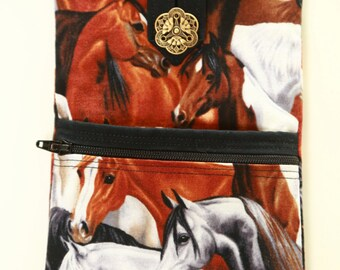 Cell Phone Purse with Adjustable Strap - Horse Fabric