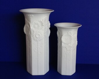 Large Alboth Kaiser White Bisque Vases Flower Motif
