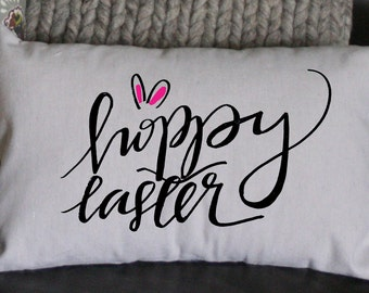 Easter Pillow, Hoppy Easter Pillow, Spring Pillow, Decorative Pillow, Gift Pillow Whimsical Pillow, Holiday Pillow, 12x16, Burlap Pillow