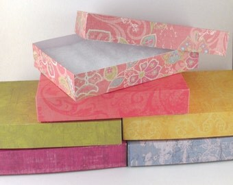 "Set of 10 Gift Boxes, Favor Box, Folded Craft Paper Assorted Colors/Patterns 6"" X 4.5"" X 1"""
