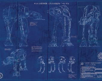 AT AT Imperial Walker Star Wars Poster Blueprint (A2 = 420mm*594 or 16.5' * 23.4')