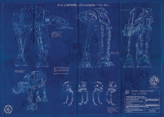 At At Imperial Walker Star Wars Poster Blueprint A2