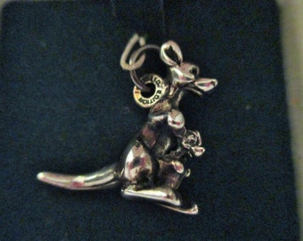 Disney Vintage Ltd Ed Kanga and Roo Charm, Sterling Silver from Winnie the Pooh with COA