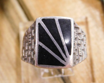 Men's Sterling Silver Jet Inlay Ring Size 13 3/4