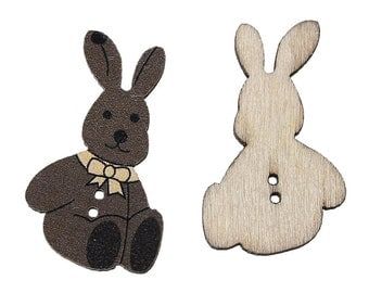 5 Pcs Wood Sewing Button Scrapbooking Rabbit Coffee 2 Holes Bowknot Pattern (61)