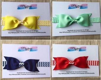 4.5inch Grosgrain Bow Zigzag Elastic Headband