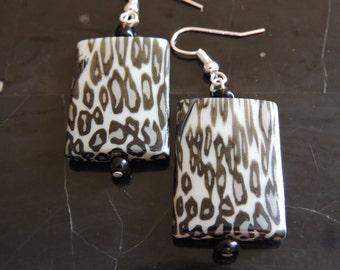 Animal Print Rectangular Earrings