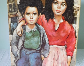 Vintage 1960s Roth Lithograph Brother and Sister 11 X 14