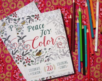 Adult Coloring Book / Peace Joy Color / 20 tear-out coloring cards
