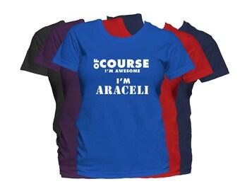 ARACELI Womens First Name T Shirt First Name Family Name Custom Personalized Name T-Shirt