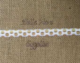 White Gold Polka Dot Fold Over Elastic- FOE- Wholesale- DIY Headband-