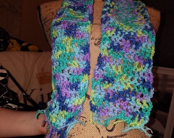 Blue and purple hue scarf with a hint of green