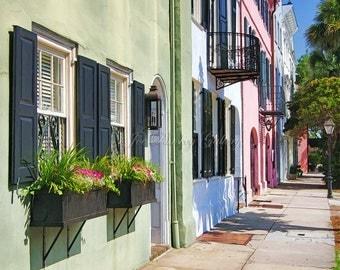 East Bay Street, Rainbow Row, Charleston, photo art, historic Charleston houses, colorful houses, home decor, art photo by Joe Parskey