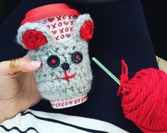 Love Mouse Coffee Cozy, Travel Mug Cozy