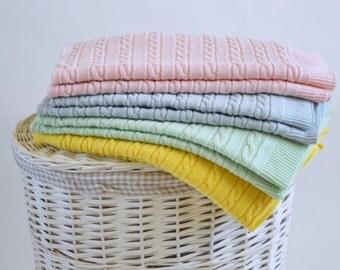 Knit blanket wool, Knit baby blanket, Swaddle blanket, Crib quilt blue, Stroller blanket, Baby boy crib quilt, Best newborn gifts