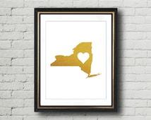 New York Print, New York State Poster, Gold Print Art, New York Poster, New York Wall Art, Faux Gold Art, Gold Foil Print, New York Decal