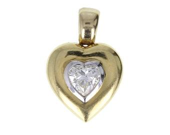 Heart Shaped Diamond 18ct Gold Pendant