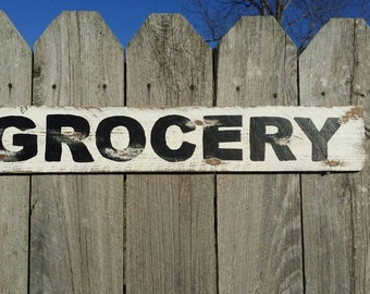 Grocery Sign Fixer Upper Magnolia Market Style Rustic Farmhouse Kitchen Sign