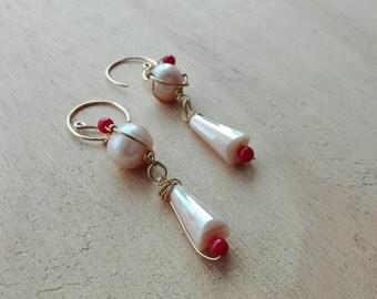 Vintage style earrings/ Amazing pale rose pearl earrings/ handmade pearl and coral long earrings