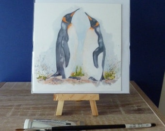 Greetings Card - PENGUIN. 130 x 130mm. From a painting by Pauline Merritt