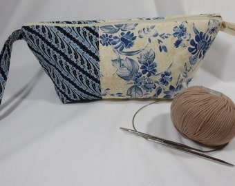 Medium Project Bag in Blues for knitting and crochet