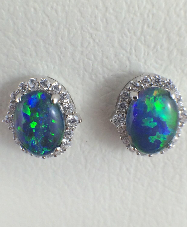 opal stud earrings jewelry genuine australian triplet 8x6mm
