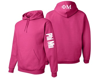 Phi Mu Hooded Sweatshirt, Phi Mu Letters Pullover Hoody, Greek Apparel, Phi Mu Sorority Letters Clothing, Phi Mu Sweatshirt