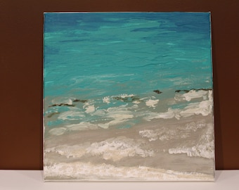 Ocean painting Bermuda sand and sea beach wall decor