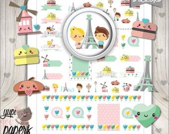 50%OFF - Paris Stickers, Planner Stickers, Eiffel Tower, Planner Accesories, Flower Stickers, Macaroon Sticker, Digital Stickers
