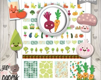 50%OFF - Vegetable Stickers, Planner Stickers, Planner Accesories, Veggie Stickers, Food Stickers, Juice Stickers, Vegetarian, Carrots