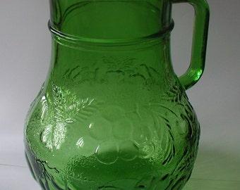 Large Vintage Green Glass Jug Pitcher