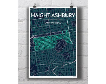 Haight-Ashbury - San Francisco City Map Print