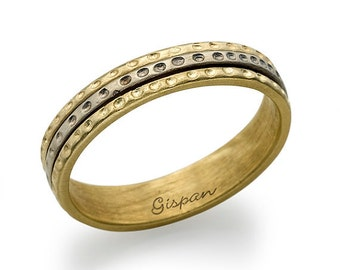 Wedding Band, Wedding Ring, Mixed Colours Ring, Gold wedding band, Mens wedding ring, Gold Band, Unique Wedding band, Texture ring