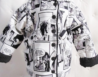 A hooded jacket / coat for baby on ground cartoon black and white - limited edition
