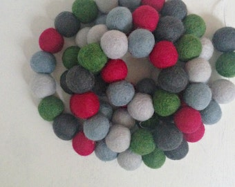 Pom Pom Garland - Felt Ball Christmas Garland - Holiday Mantle Decor - Red, Green & Blue Garland - Holiday Garland - Noel