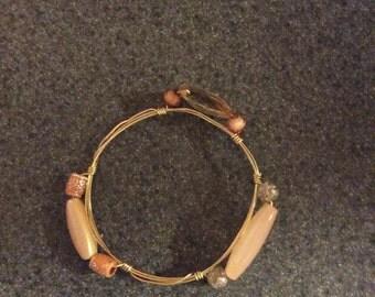 Coral on gold bracelet
