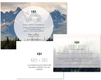 Mountain Photo Wedding Invitation Set (priced per 25)