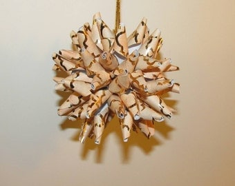 Polish Star ornament - beige with copper metallic design