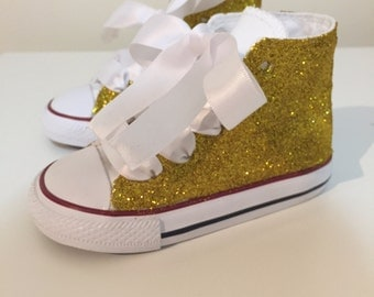 White and Gold Glitter Converse (Bride & Flower Girl)