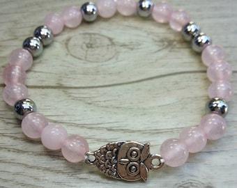 ON SALE!!! Bracelet rose quartz and hematite with owl - Gemstones 6mm